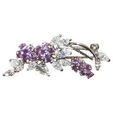 Vintage Brooch Sterling White Lavender Crystals
