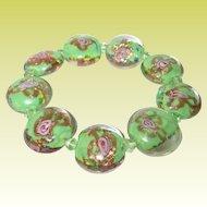 Vintage Bracelet Venitian Art Glass Beads
