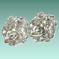 Vintage Earrings Repousse Work Sterling