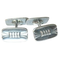 Vintage Cuff Links Danish 830 silver Modernist Design