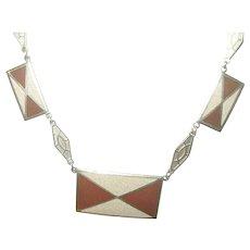 Art Deco Enamel Link Necklace Mint Condition