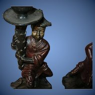 Vintage Pr Cast Iron Candlesticks Chinese Figures
