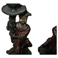 Vintage Pr Cast Iron Candlesticks Chinese Figures