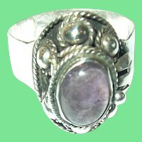 Vintage Ring Sterling Cabochon Amethyst  Taxco