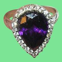 Vintage Ring Sterling FAux Diamonds Faux Amethyst