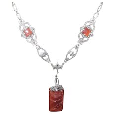 Art Deco Necklace Sterling Hand Carved Carnelian Pendant