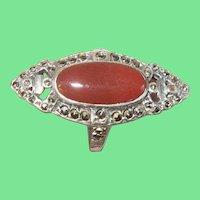 Art Deco Ring Sterling Carnelian Marcasite