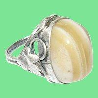 Art Nouveau Ring Sterling Cabochon Agate