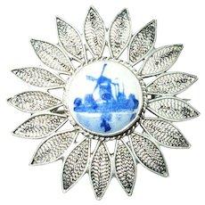 Vintage Brooch 900 Coin Silver Delft Center