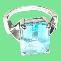 Vintage Ring Sterling Lg Faux Blue Topaz
