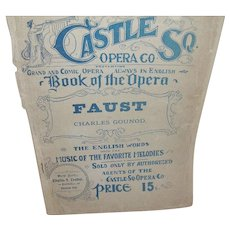"Vintage Booklet ""Faust"" by Charles Gounod English Words and Melodies"