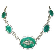 Art Deco Enamel Link Necklace