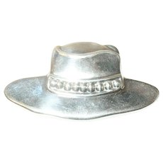 Vintage Lg Sterling Brooch Hat Design