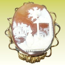 Antique Rolled Gold Shell Cameo Rebecca at the Well