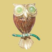 Vintage Owl Brooch Enamel Work by Creed