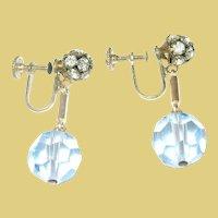 Vintage Drop Earrings Rhinestones Crystal Glass