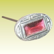Vintage Hat Pin Sterling Faux Ruby