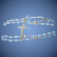 Vintage Rosary Sterling Crystal Glass Beads