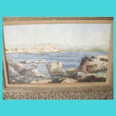 Antique Oil On Canvas Seascape