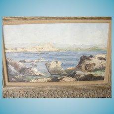 Antique Oil On Canvas Seascape