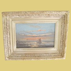 Antique Oil On Board Seascape