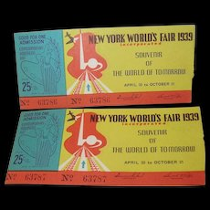 New York World's Fair 1939 - Tickets Two