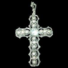 Edwardian 835 Coin Silver Pendant Cross Paste Stones