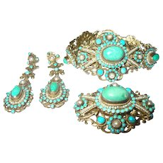 Antique Hungarian Sterling Salt Water Pearl Turquoise 3 Pc Suite (Offers Are Welcomed)