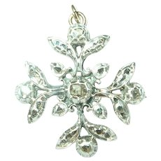 Georgian 14K Sterling Diamond Maltese Cross Brooch/Pendant