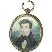 Georgian Pendant Miniature Portrait 1820's (Offers Are Welcomed)