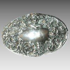 Art Nouveau Sterling Belt Buckle Repousse