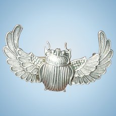 Antique Egyptian Sterling Scarab Brooch