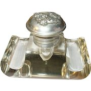 French Inkwell Crystal Silver Mounting