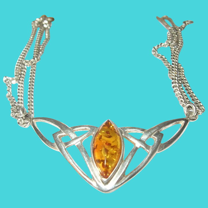 26bb9ea5b Vintage Necklace Sterling Amber Celtic Design : Robbia Antiques ...