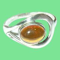 Vintage Ring Sterling Amber Modernist Design