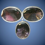 Victorian Sterling Brooch Lg Faux Amethysts