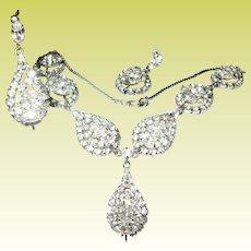 Vintage Sterling Rhinestone Necklace Earring Set by Dorel