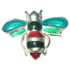 Vintage Brooch Enamel Bumble Bee