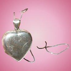 Vintage Locket Necklace Sterling Chased Design