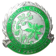 Sterling Brooch National Council State Garden Club President