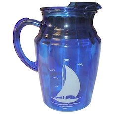 Depression Glass Cobalt Blue Pitcher Sailboat