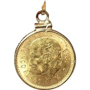 Gold Coin 1955 M Mexican $5.00 Pendant