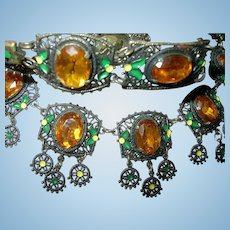 Czechoslovakian Bibb Necklace Bracelet Set