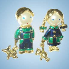 Vintage Brooch Set Boy/Girl Enamel Work