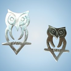 Vintage Sterling Earrings Lg Owls