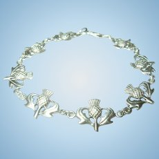 Vintage Sterling Scottish Link Bracelet Thistles