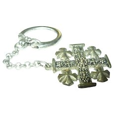 Vintage 800 Coin Silver Key Chain Maltese Cross