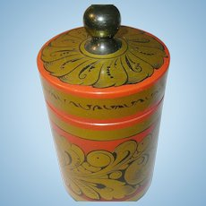 Vintage Russian Lacquer Container Lid