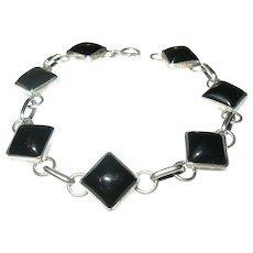 Vintage Link Bracelet Sterling Black Onyx