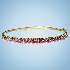 Vintage Hinged Bangle Sterling Vermeil Rubies